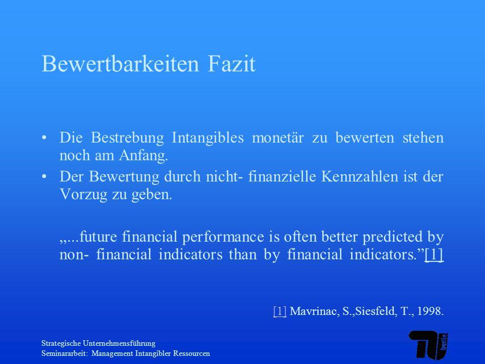 Strategische Unternehmensführung Seminararbeit: Management Intangibler Ressourcen Bewertbarkeiten Fazit Die Bestrebung Intangibles monetär zu bewerten