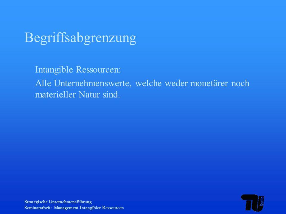 Strategische Unternehmensführung Seminararbeit: Management Intangibler Ressourcen Begriffsabgrenzung Intangible Ressourcen: Alle Unternehmenswerte, we