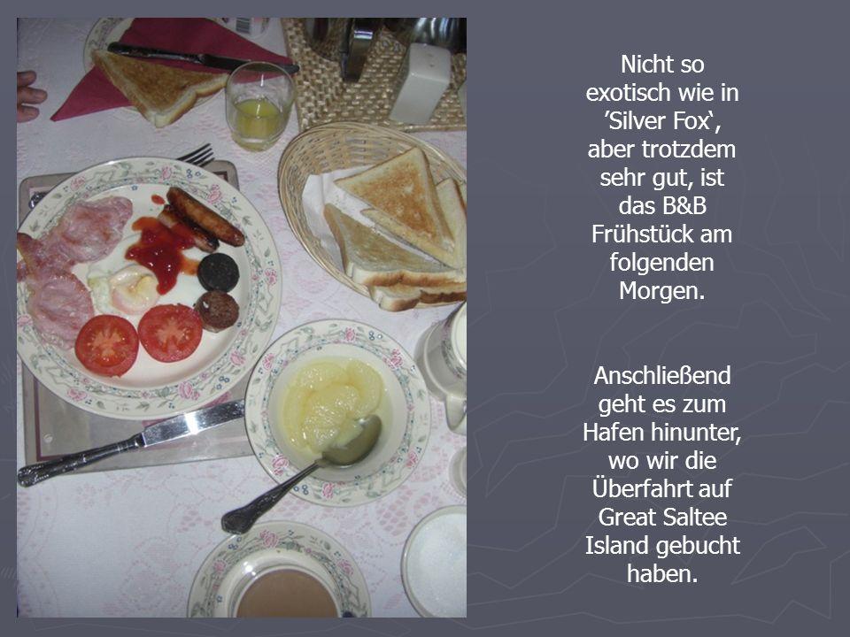 Nicht so exotisch wie in Silver Fox, aber trotzdem sehr gut, ist das B&B Frühstück am folgenden Morgen.