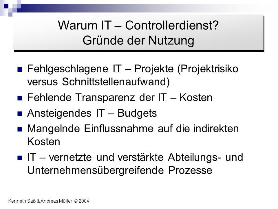 Fehlgeschlagene IT – Projekte (Projektrisiko versus Schnittstellenaufwand) Fehlende Transparenz der IT – Kosten Ansteigendes IT – Budgets Mangelnde Ei