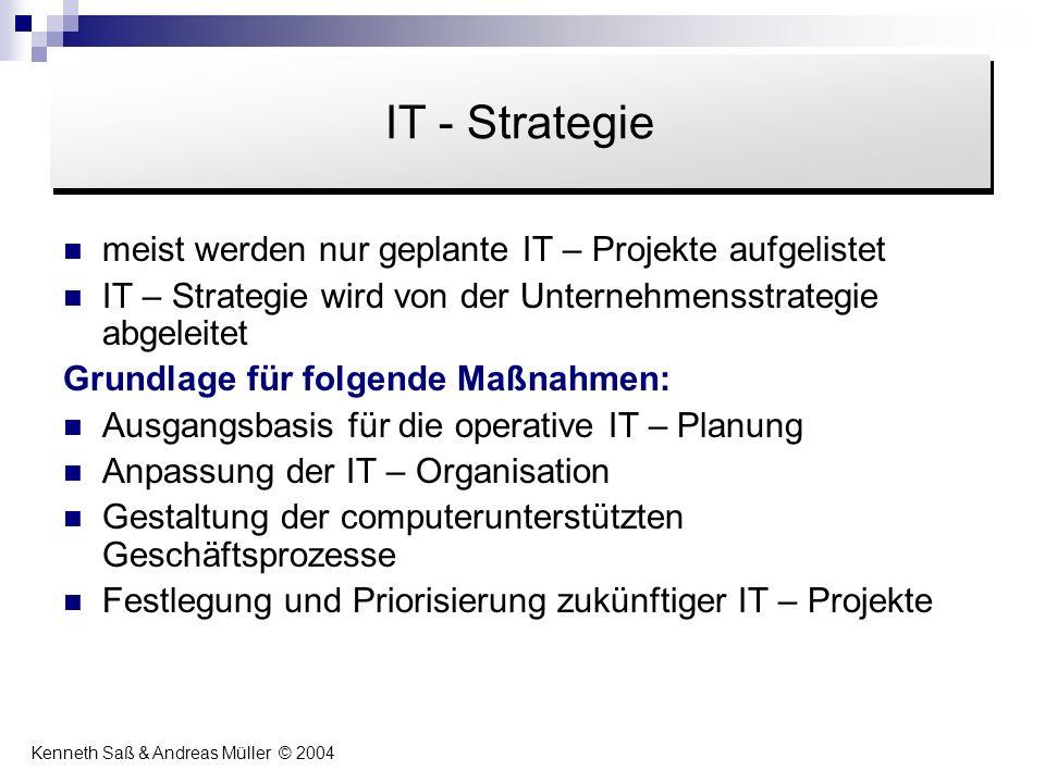 meist werden nur geplante IT – Projekte aufgelistet IT – Strategie wird von der Unternehmensstrategie abgeleitet Grundlage für folgende Maßnahmen: Aus