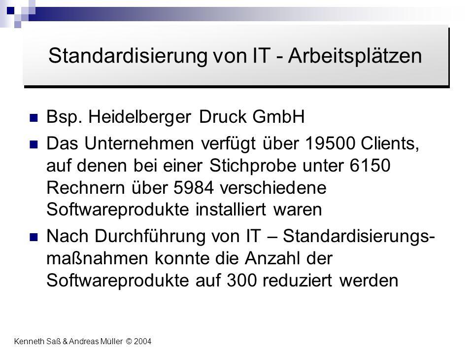 Bsp. Heidelberger Druck GmbH Das Unternehmen verfügt über 19500 Clients, auf denen bei einer Stichprobe unter 6150 Rechnern über 5984 verschiedene Sof