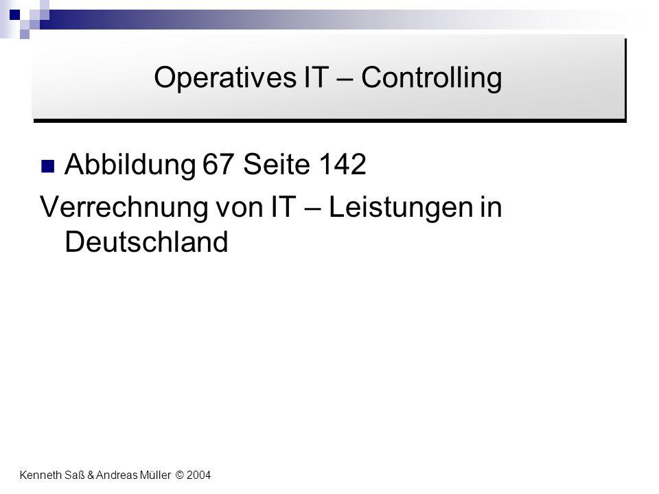 Abbildung 67 Seite 142 Verrechnung von IT – Leistungen in Deutschland Inhalt Operatives IT – Controlling Kenneth Saß & Andreas Müller © 2004