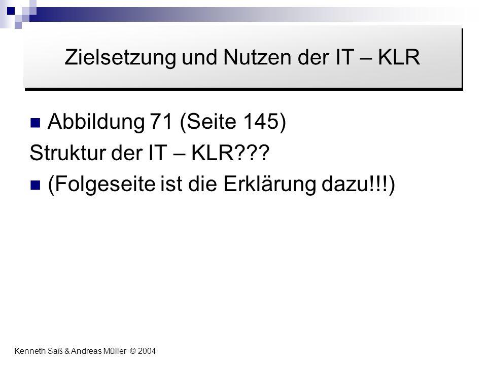 Abbildung 71 (Seite 145) Struktur der IT – KLR??? (Folgeseite ist die Erklärung dazu!!!) Inhalt Zielsetzung und Nutzen der IT – KLR Kenneth Saß & Andr