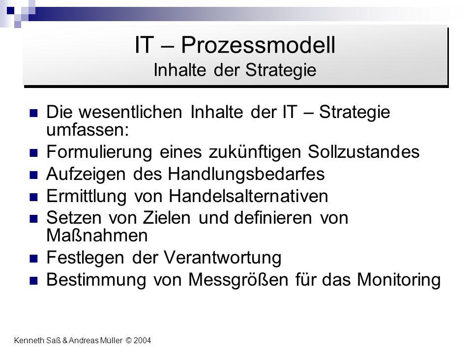 Die wesentlichen Inhalte der IT – Strategie umfassen: Formulierung eines zukünftigen Sollzustandes Aufzeigen des Handlungsbedarfes Ermittlung von Hand