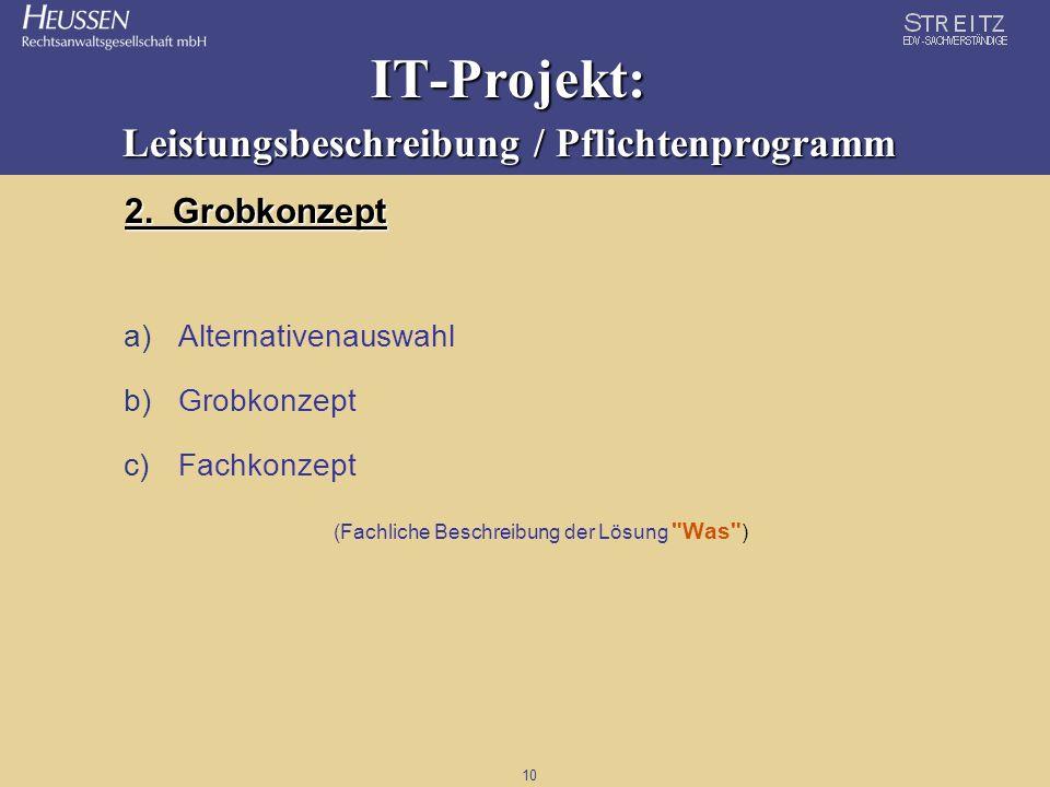 10 IT-Projekt: Leistungsbeschreibung / Pflichtenprogramm 2. Grobkonzept a)Alternativenauswahl b)Grobkonzept c)Fachkonzept (Fachliche Beschreibung der