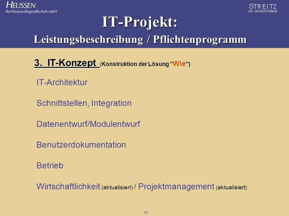 11 IT-Projekt: Leistungsbeschreibung / Pflichtenprogramm 3. IT-Konzept 3. IT-Konzept (Konstruktion der Lösung