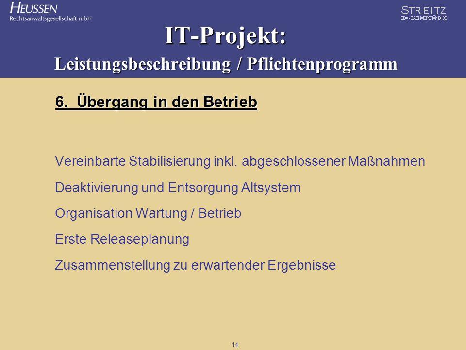 14 IT-Projekt: Leistungsbeschreibung / Pflichtenprogramm 6. Übergang in den Betrieb Vereinbarte Stabilisierung inkl. abgeschlossener Maßnahmen Deaktiv