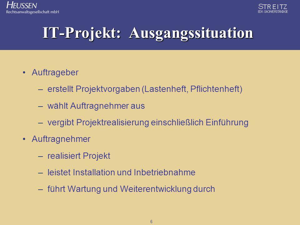 6 IT-Projekt: Ausgangssituation Auftrageber –erstellt Projektvorgaben (Lastenheft, Pflichtenheft) –wählt Auftragnehmer aus –vergibt Projektrealisierun