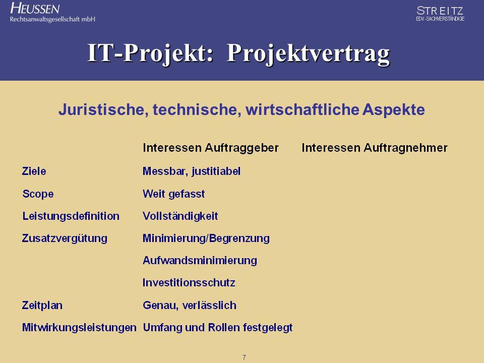 7 IT-Projekt: Projektvertrag Juristische, technische, wirtschaftliche Aspekte