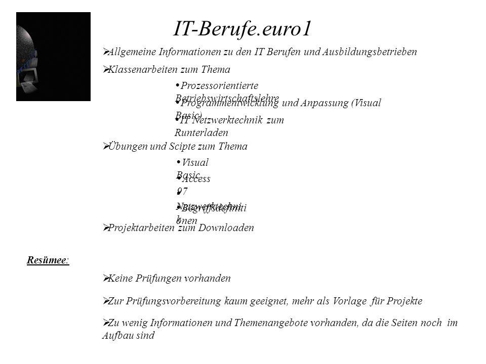 IT-Berufe.euro1 Klassenarbeiten zum Thema Übungen und Scipte zum Thema Projektarbeiten zum Downloaden Keine Prüfungen vorhanden Allgemeine Information