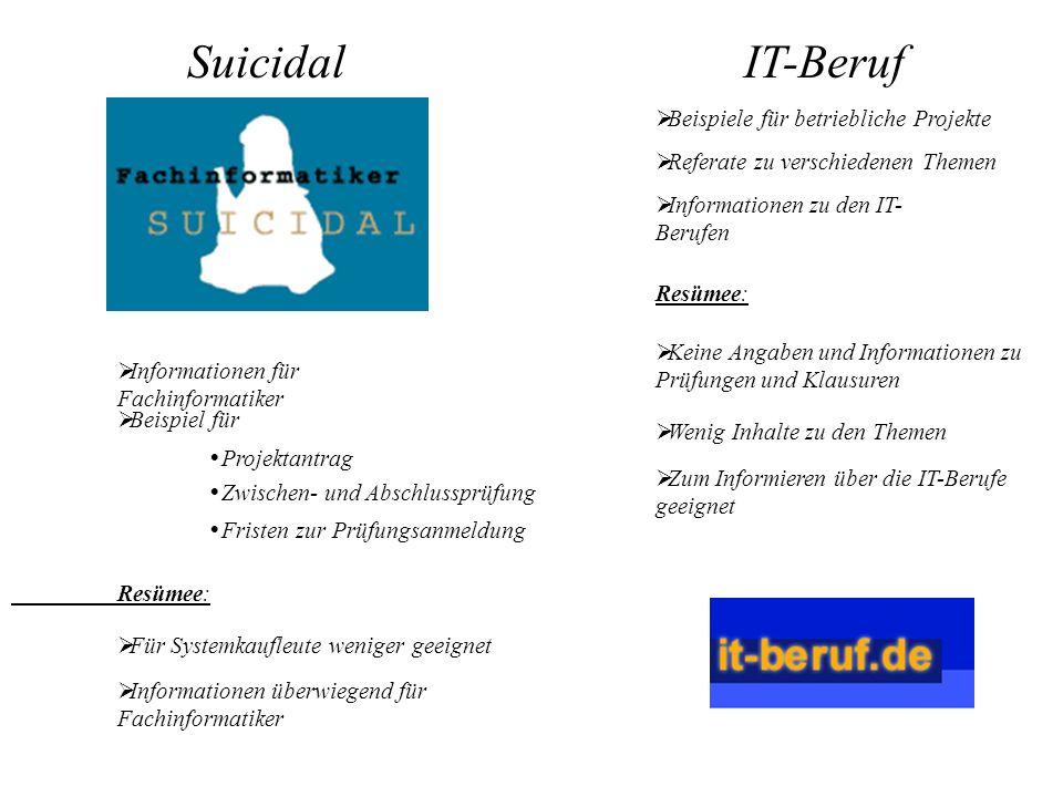 SuicidalIT-Beruf Informationen für Fachinformatiker Beispiel für Beispiele für betriebliche Projekte Projektantrag Zwischen- und Abschlussprüfung Fris