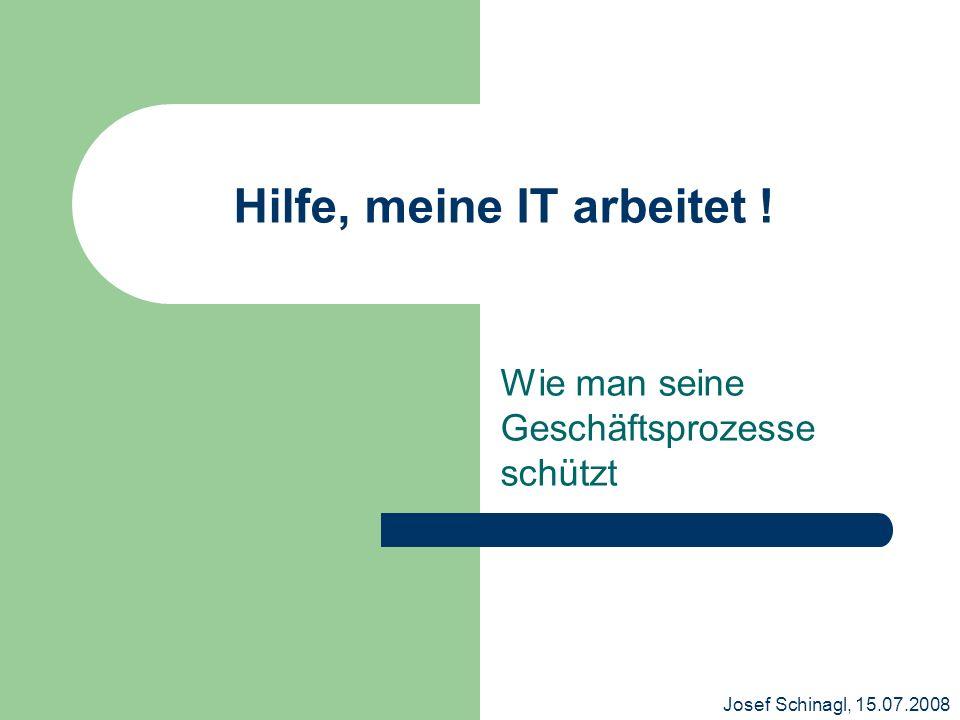 Josef Schinagl, 15.07.2008 Hilfe, meine IT arbeitet ! Wie man seine Geschäftsprozesse schützt