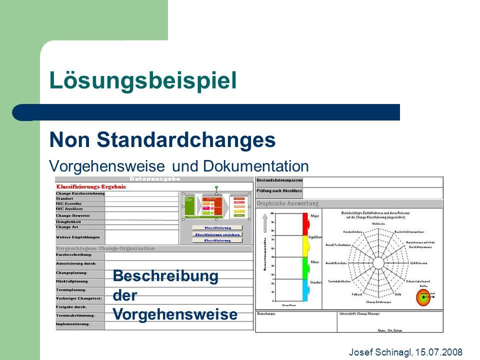 Josef Schinagl, 15.07.2008 Lösungsbeispiel Non Standardchanges Vorgehensweise und Dokumentation Beschreibung der Vorgehensweise