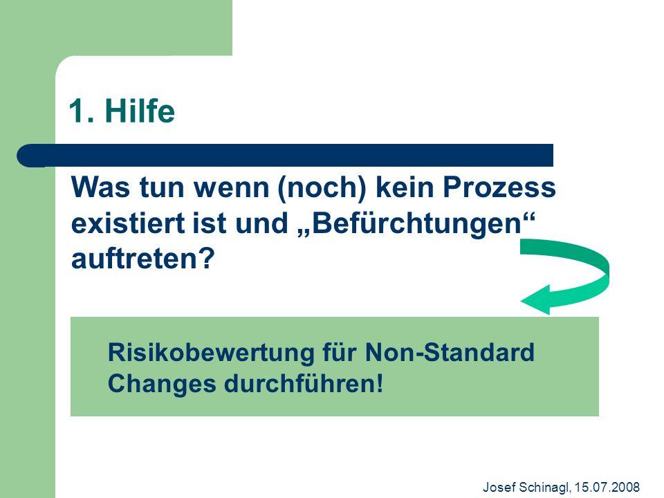 Josef Schinagl, 15.07.2008 1. Hilfe Was tun wenn (noch) kein Prozess existiert ist und Befürchtungen auftreten? Risikobewertung für Non-Standard Chang