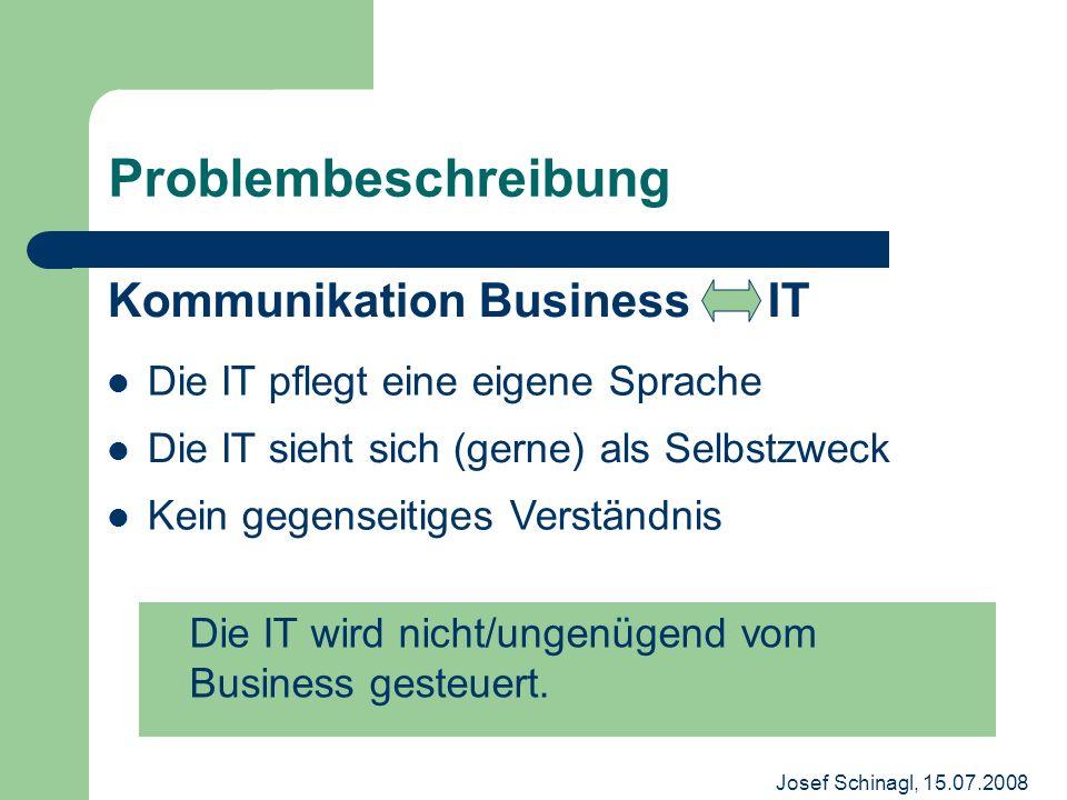 Josef Schinagl, 15.07.2008 Problembeschreibung Kommunikation Business IT Die IT wird nicht/ungenügend vom Business gesteuert. Die IT pflegt eine eigen