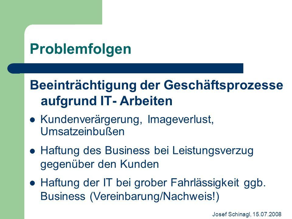 Josef Schinagl, 15.07.2008 Problemfolgen Beeinträchtigung der Geschäftsprozesse aufgrund IT- Arbeiten Kundenverärgerung, Imageverlust, Umsatzeinbußen