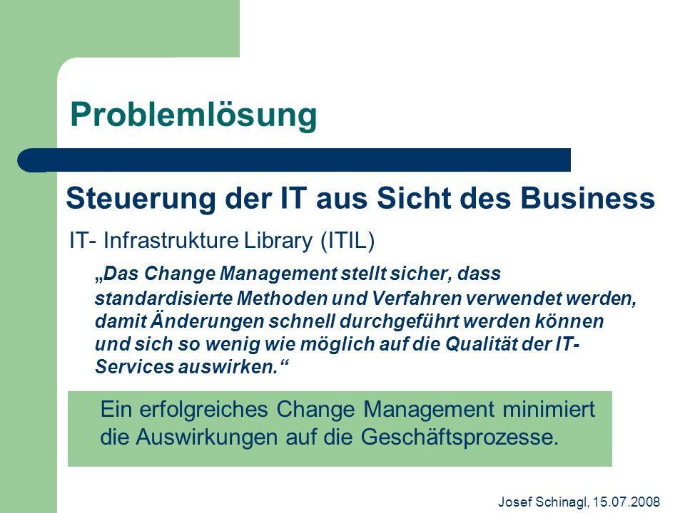 Josef Schinagl, 15.07.2008 Problemlösung IT- Infrastrukture Library (ITIL) Das Change Management stellt sicher, dass standardisierte Methoden und Verf