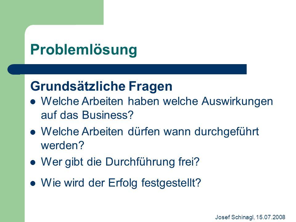 Josef Schinagl, 15.07.2008 Problemlösung Grundsätzliche Fragen Welche Arbeiten haben welche Auswirkungen auf das Business? Welche Arbeiten dürfen wann
