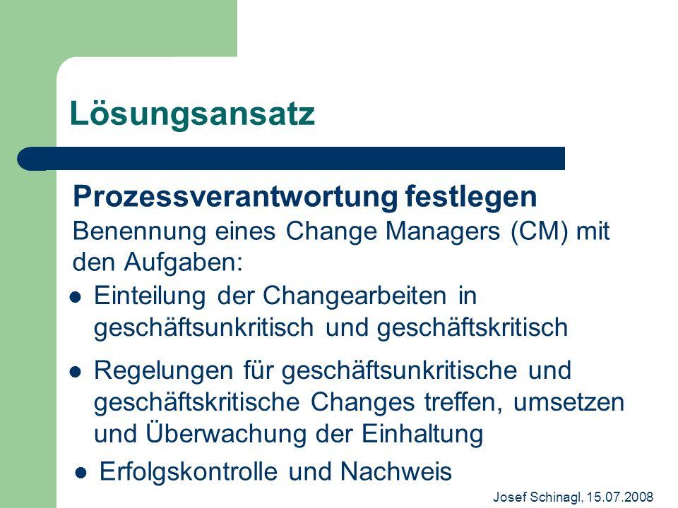 Josef Schinagl, 15.07.2008 Prozessverantwortung festlegen Benennung eines Change Managers (CM) mit den Aufgaben: Lösungsansatz Einteilung der Changear