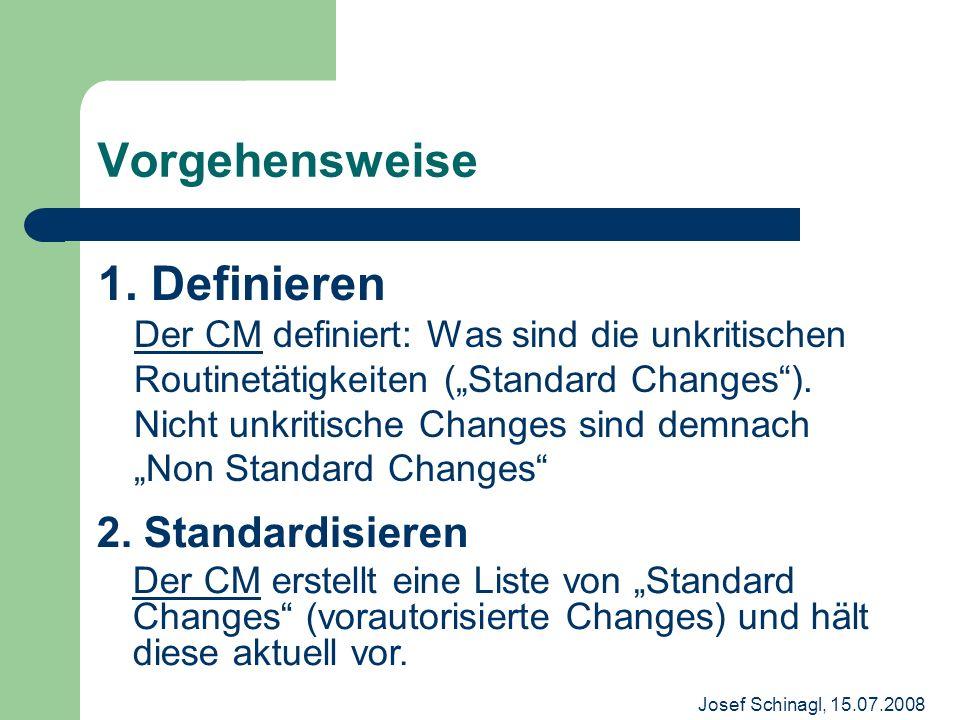 Josef Schinagl, 15.07.2008 Vorgehensweise 1. Definieren Der CM definiert: Was sind die unkritischen Routinetätigkeiten (Standard Changes). Nicht unkri