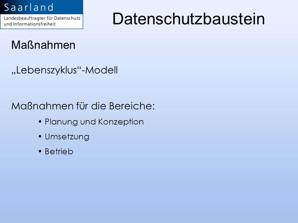 Lebenszyklus-Modell Maßnahmen für die Bereiche: Planung und Konzeption Umsetzung Betrieb Maßnahmen Datenschutzbaustein