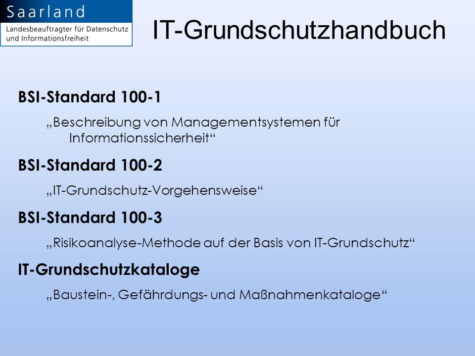 IT-Grundschutzhandbuch BSI-Standard 100-1 Beschreibung von Managementsystemen für Informationssicherheit BSI-Standard 100-2 IT-Grundschutz-Vorgehenswe