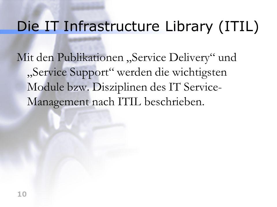 10 Die IT Infrastructure Library (ITIL) Mit den Publikationen Service Delivery und Service Support werden die wichtigsten Module bzw. Disziplinen des