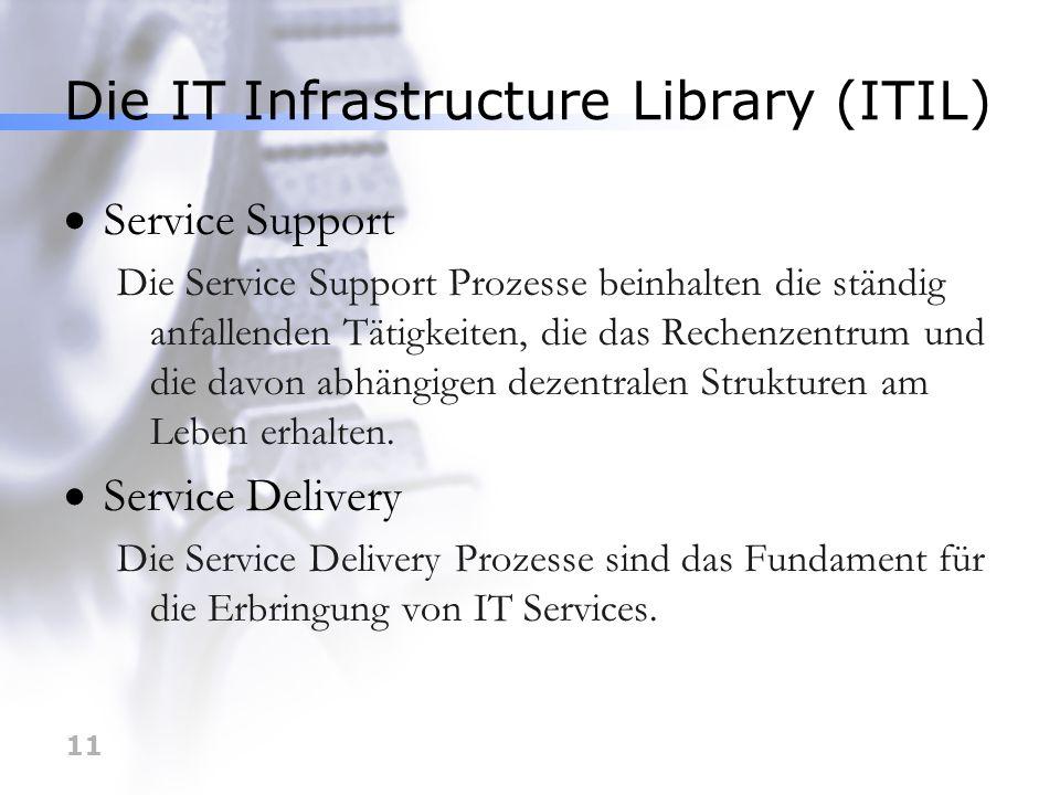 11 Die IT Infrastructure Library (ITIL) Service Support Die Service Support Prozesse beinhalten die ständig anfallenden Tätigkeiten, die das Rechenzen