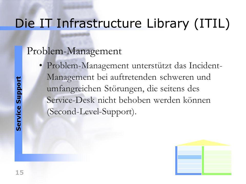 15 Die IT Infrastructure Library (ITIL) Problem-Management Problem-Management unterstützt das Incident- Management bei auftretenden schweren und umfan