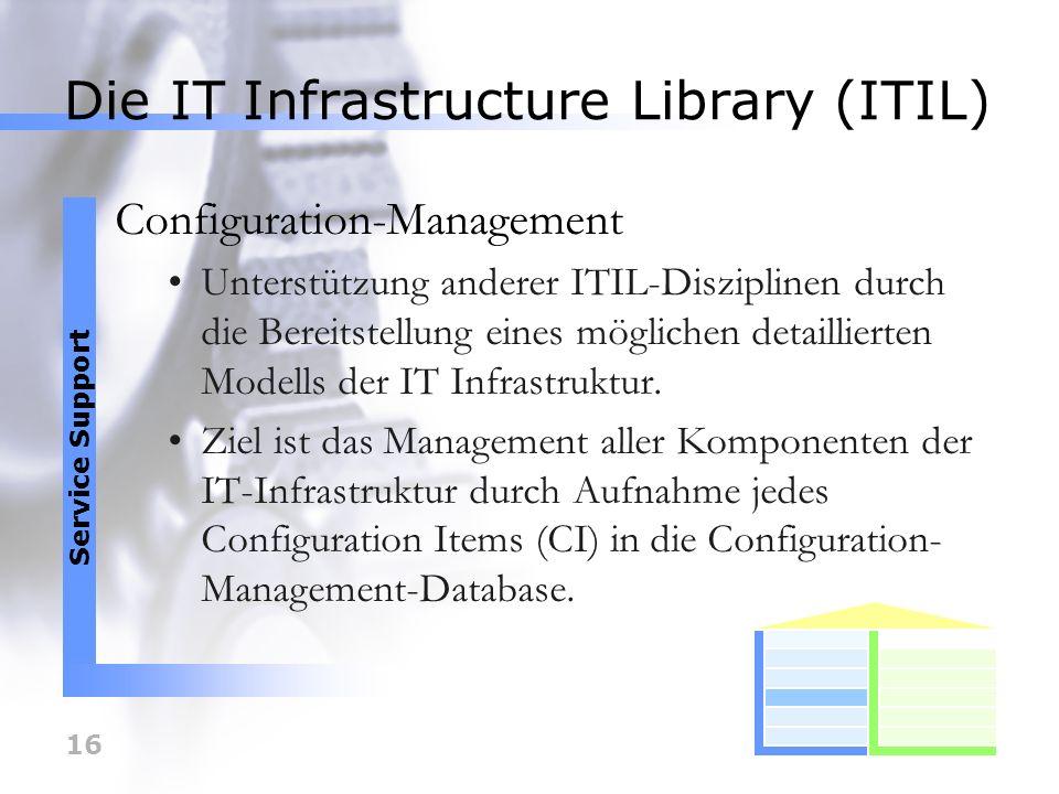 17 Die IT Infrastructure Library (ITIL) Change-Management Aufgabe des Change-Management ist es Änderungen zu erfassen, zu planen und umzusetzen.
