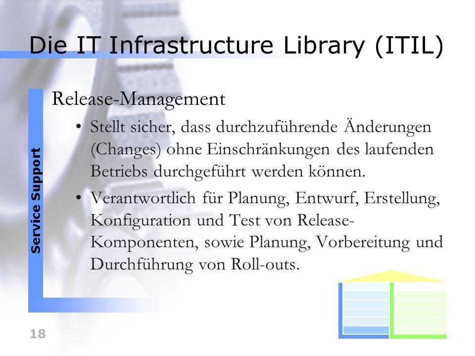 18 Die IT Infrastructure Library (ITIL) Release-Management Stellt sicher, dass durchzuführende Änderungen (Changes) ohne Einschränkungen des laufenden