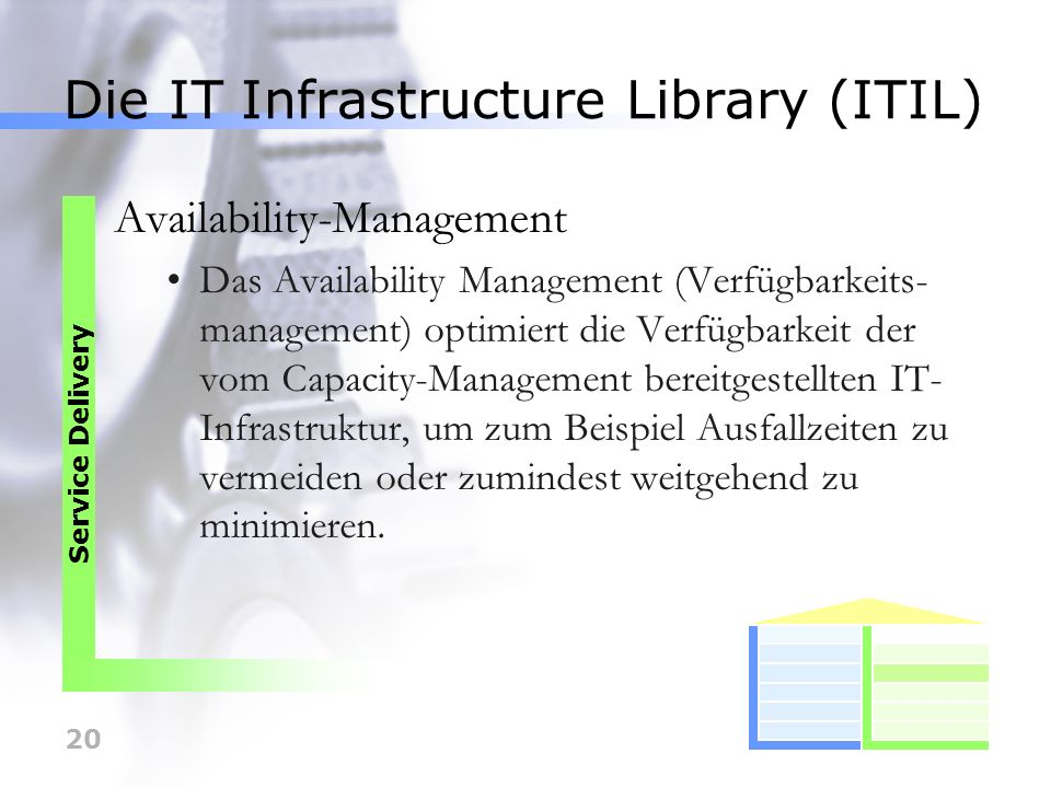 20 Die IT Infrastructure Library (ITIL) Availability-Management Das Availability Management (Verfügbarkeits- management) optimiert die Verfügbarkeit d