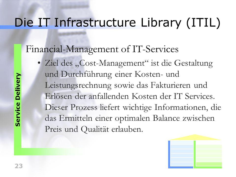 23 Die IT Infrastructure Library (ITIL) Financial-Management of IT-Services Ziel des Cost-Management ist die Gestaltung und Durchführung einer Kosten-