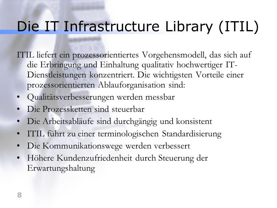 8 Die IT Infrastructure Library (ITIL) ITIL liefert ein prozessorientiertes Vorgehensmodell, das sich auf die Erbringung und Einhaltung qualitativ hoc