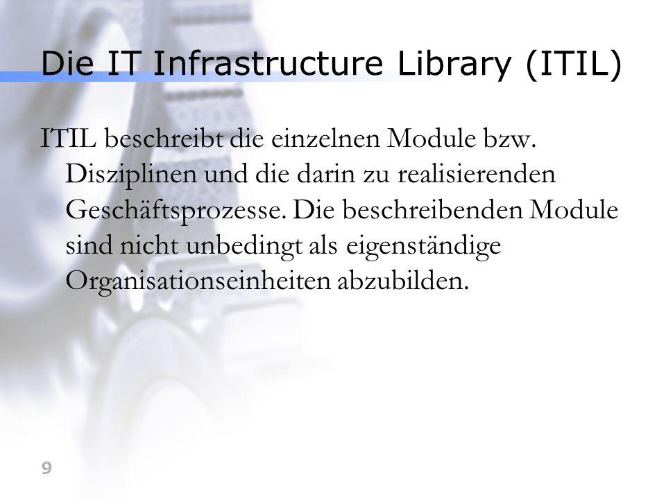 9 Die IT Infrastructure Library (ITIL) ITIL beschreibt die einzelnen Module bzw. Disziplinen und die darin zu realisierenden Geschäftsprozesse. Die be