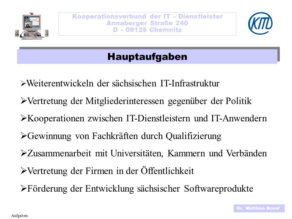 Kooperationsverbund der IT – Dienstleister Annaberger Straße 240 D – 09125 Chemnitz Dr. Matthias Brand Aufgaben Weiterentwickeln der sächsischen IT-In
