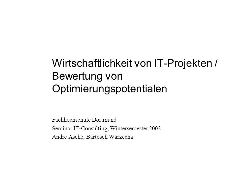 Wirtschaftlichkeit von IT-Projekten / Bewertung von Optimierungspotentialen Fachhochschule Dortmund Seminar IT-Consulting, Wintersemester 2002 Andre Asche, Bartosch Warzecha