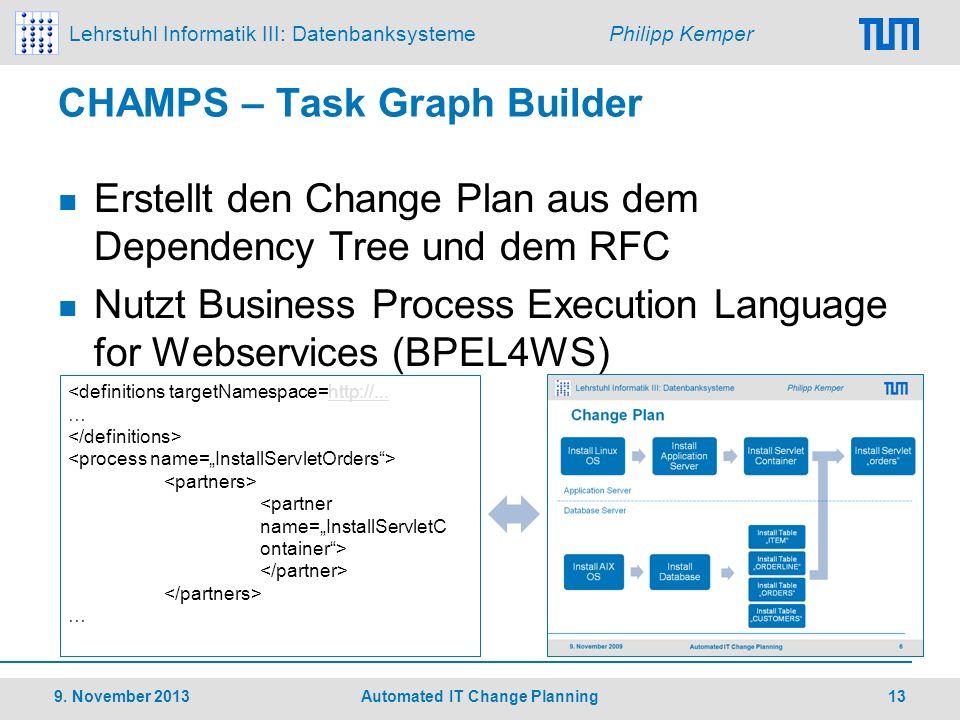 Lehrstuhl Informatik III: Datenbanksysteme Philipp Kemper CHAMPS – Task Graph Builder Erstellt den Change Plan aus dem Dependency Tree und dem RFC Nut