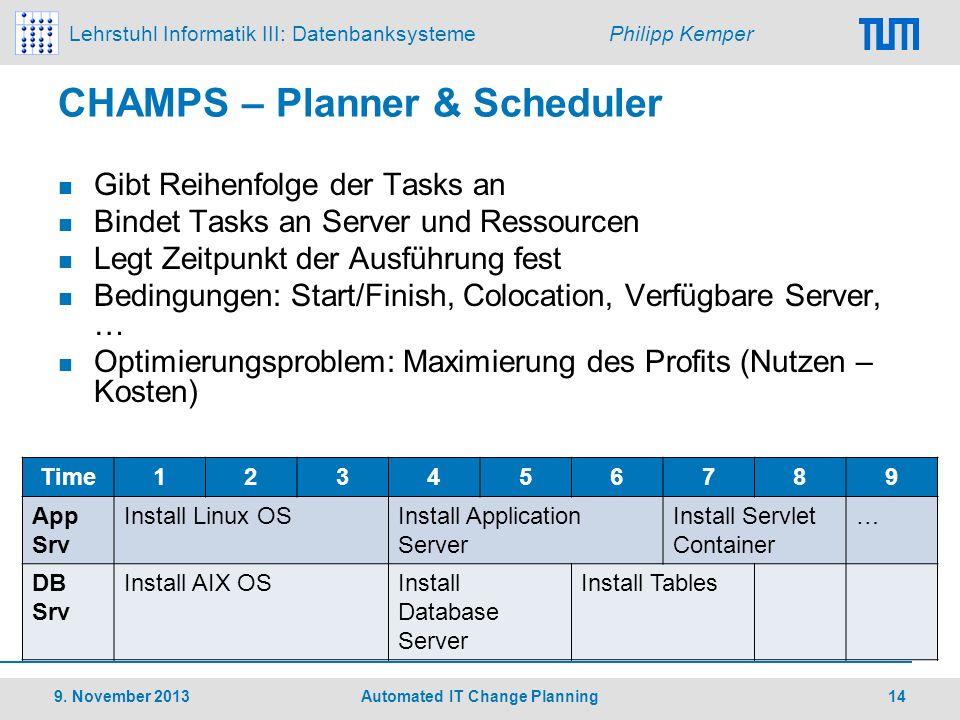 Lehrstuhl Informatik III: Datenbanksysteme Philipp Kemper CHAMPS – Planner & Scheduler Gibt Reihenfolge der Tasks an Bindet Tasks an Server und Ressou