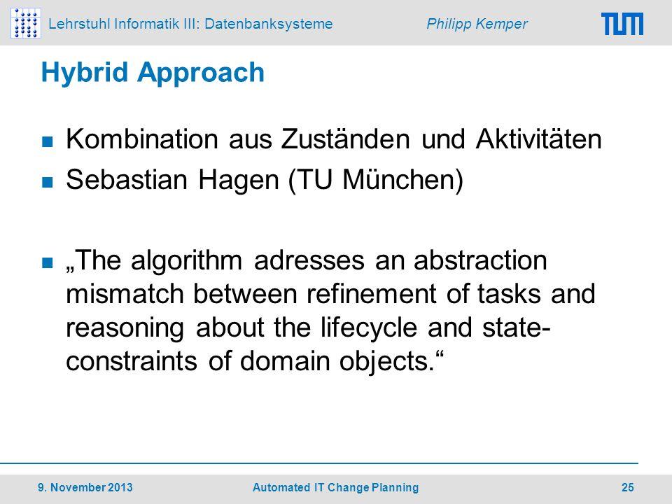 Lehrstuhl Informatik III: Datenbanksysteme Philipp Kemper Hybrid Approach Kombination aus Zuständen und Aktivitäten Sebastian Hagen (TU München) The a