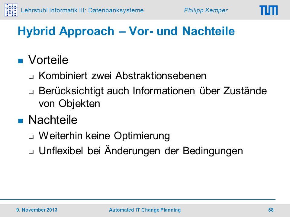 Lehrstuhl Informatik III: Datenbanksysteme Philipp Kemper Hybrid Approach – Vor- und Nachteile Vorteile Kombiniert zwei Abstraktionsebenen Berücksicht