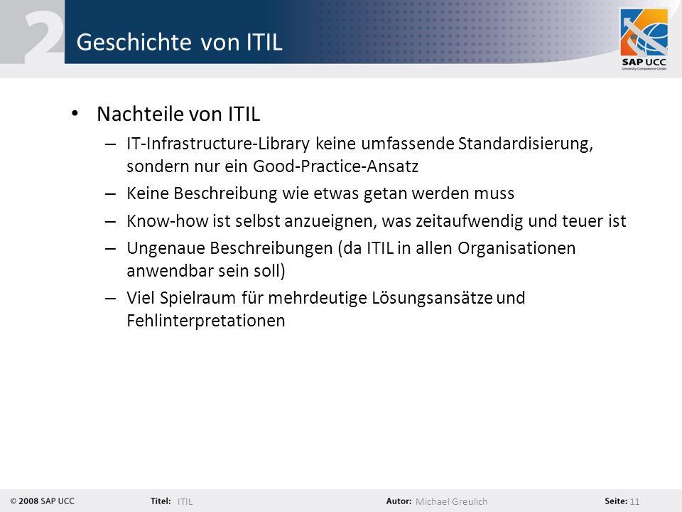 ITILMichael Greulich 11 Geschichte von ITIL Nachteile von ITIL – IT-Infrastructure-Library keine umfassende Standardisierung, sondern nur ein Good-Pra