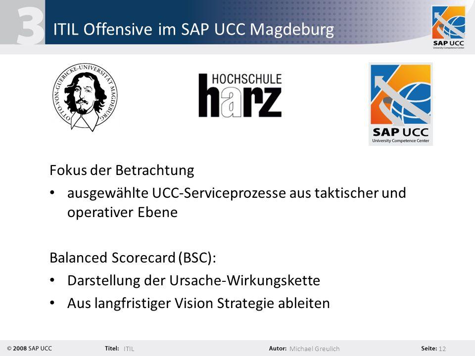 ITILMichael Greulich 12 ITIL Offensive im SAP UCC Magdeburg Fokus der Betrachtung ausgewählte UCC-Serviceprozesse aus taktischer und operativer Ebene