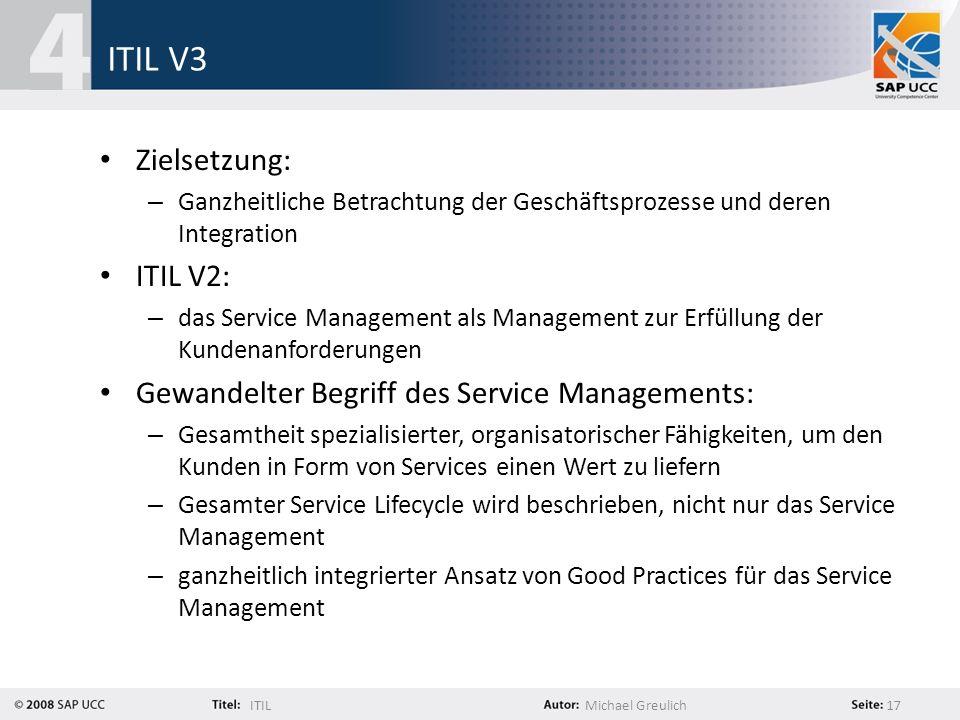ITILMichael Greulich 17 ITIL V3 Zielsetzung: – Ganzheitliche Betrachtung der Geschäftsprozesse und deren Integration ITIL V2: – das Service Management