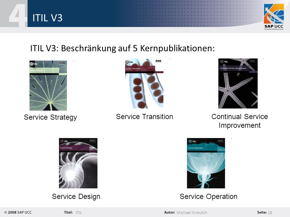 ITILMichael Greulich 18 ITIL V3 ITIL V3: Beschränkung auf 5 Kernpublikationen: Service Strategy Service Design Service Transition Service Operation Continual Service Improvement