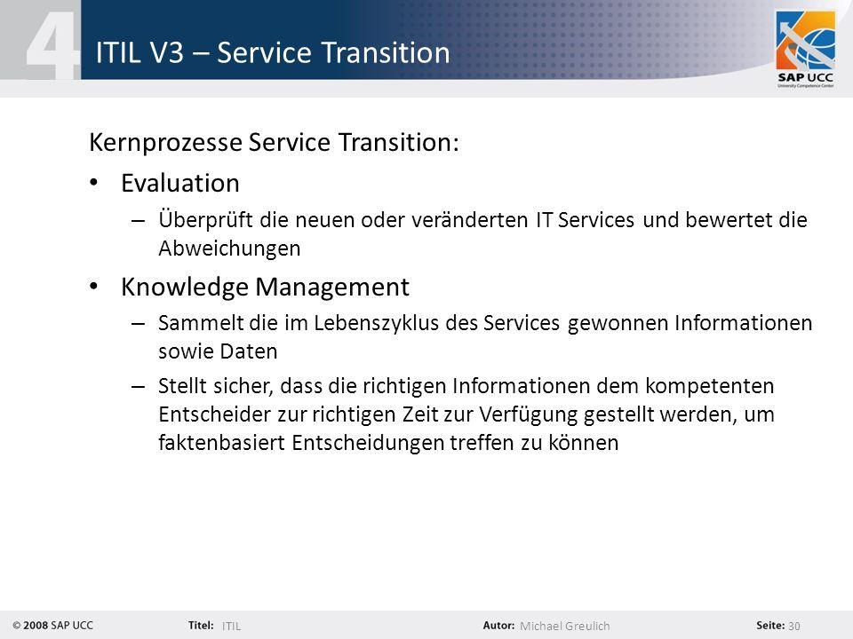 ITILMichael Greulich 30 ITIL V3 – Service Transition Kernprozesse Service Transition: Evaluation – Überprüft die neuen oder veränderten IT Services un