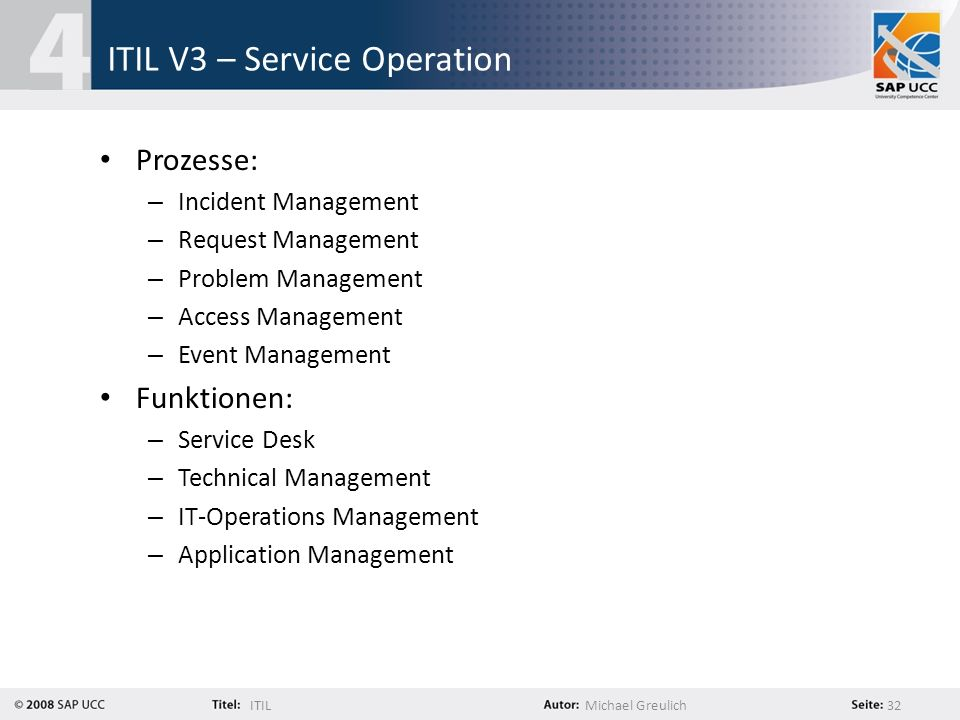 ITILMichael Greulich 32 ITIL V3 – Service Operation Prozesse: – Incident Management – Request Management – Problem Management – Access Management – Event Management Funktionen: – Service Desk – Technical Management – IT-Operations Management – Application Management