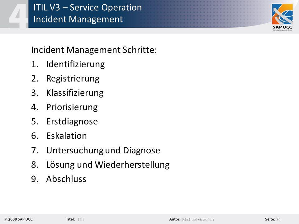 ITILMichael Greulich 36 ITIL V3 – Service Operation Incident Management Incident Management Schritte: 1.Identifizierung 2.Registrierung 3.Klassifizier