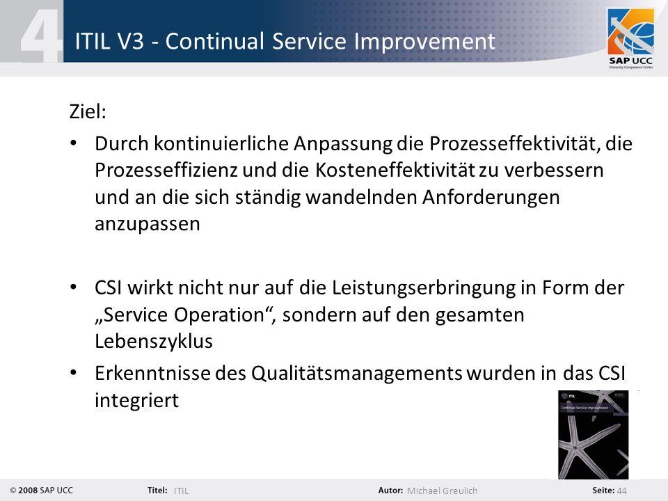 ITILMichael Greulich 44 ITIL V3 - Continual Service Improvement Ziel: Durch kontinuierliche Anpassung die Prozesseffektivität, die Prozesseffizienz un